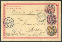 E.P. 1c. + Tp 1c. + 2c. Obl; Chinoise En Provenance De TUNGKUN (DONGGUAN) Le 28-5-1906 Vers Asslar (DE) + Cachet De CANT - Covers & Documents