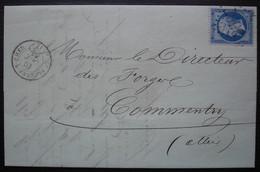 Saint Florent Sur Cher 1863 Gc 3597, Forges De Rosières, Lettre Pour Commentry, Cachet Au Revers - 1849-1876: Période Classique