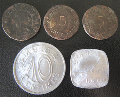 France - 5 Jetons Monétaires Vers 1920 Dont Marseille, Besançon, Bayonne - 3 En Fer Et 2 En Aluminium - Noodgeld