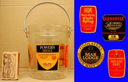 Seau à Glaçons 5 Marques De Whisky En Verre Sérigraphiée Anse Chromée - Other