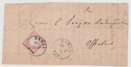 Germany-1873 I Gr Rose Type II Shield Cancelled Single Circle 26 Mm Hanau Postmark Cover Piece To Offenbach - Storia Postale