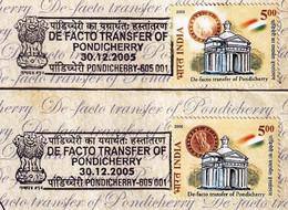 DE FACTO TRANSFER OF PONDICHERRY TO INDIA-ERROR-2x FDC-INDIA-2005-FC2-143 - Other