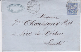 Yver 72 Type II Seul Sur Lettre Troyes Gare  Pour Aire/Adour   1877 - 1877-1920: Semi Modern Period