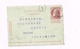 Carte-lettre à 10 Centimes.Expédié De Auvelais à Carnières. - Postbladen
