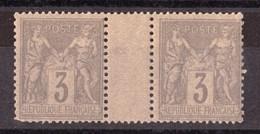 Paire Interpanneau - Sage N° 87 Gris Sur Jaunâtre - Neuf ** - 1876-1898 Sage (Type II)