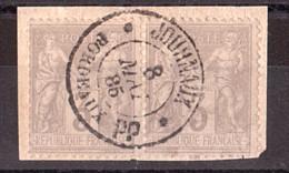 Paire Sage N° 87 - Oblitération CàD Noir Des Journaux Bordeaux PP 8 Mai 1885 - Sur Fragment - 1876-1898 Sage (Tipo II)