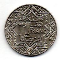 MOROCCO, 1 Franc, Year (1921), Nickel, KM #Y36.1 - Morocco