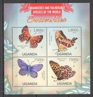 UG038 ! LIMITED STOCK 2013 UGANDA BUTTERFLIES FAUNA ENDANGERED & VULNERABLE #3015-3018 MNH - Mariposas