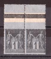 Paire Sage N° 83 - Bord De Feuille Supérieur - Neuf ** - 1876-1898 Sage (Type II)