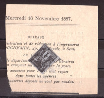 Sage N° 83 - Annulation Typographique Des Journaux 16 Novembre 1887 - L'Union De L'Yonne - 1876-1898 Sage (Type II)