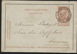 Carte-lettre N°9 Avec Bors Obl. LOUVAIN (STATION) Vers La Ville 1895. TB. - Postbladen