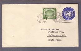 Entier Postal 4c + 4c Droits De L'homme ʘ United Nations New York 01.02.1959 > Zofingen - Brieven En Documenten