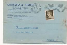 1937 GENOVA PERFIN TP TADIELLO E PISONI - Storia Postale