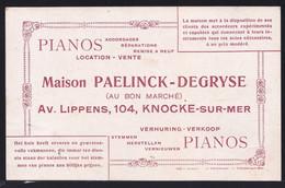 CARTE PUBLICITAIRE Début 1900 - KNOKKE - KNOCKE - AVENUE LIPPENS - PIANO PAELINCK DEGRYSE - Reclame