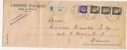1939 FIRENZE PERFIN CI CREDITO ITALIANO SU STAMPE RACCOMANDATE X DISTRETTO - Storia Postale