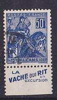 BANDE PUB  OBLITEREE 50 C  JEANNE D'ARC  TYPE I VACHE QUI RIT  EN EXCURSION - Publicidad