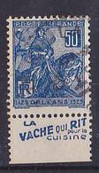 BANDE PUB  OBLITEREE 50 C  JEANNE D'ARC  TYPE I VACHE QUI RIT  POUR LA CUISINE - Publicidad