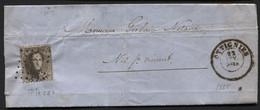 N°14 Obl. LP 284 S/Lettre De OTTIGNIES Vers Nil-St-Vincent Via Mont St Guibert 1865. Coba 20 Isolé - 1863-1864 Medaglioni (13/16)