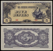 BURMA - WWII JAPANESE GOVERNMENT BANKNOTE - 5 RUPEES (1942-44) P#15b AUNC (NT#05) - Other
