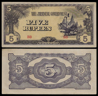 BURMA - WWII JAPANESE GOVERNMENT BANKNOTE - 5 RUPEES (1942-44) P#15b XF/AU (NT#05) - Other