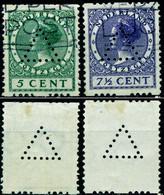 """Niederlande Netherlands 1926 Michel-# 178c + 180c """" 2 Marken Med Roltanding * PERFIN Triangular """" Michel Nb € - Oblitérés"""