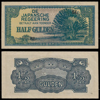 NETHERLANDS INDIES - WWII JAPANESE GOVERNMENT BANKNOTE - 1/2 GULDEN (1942) P#122b AU (NT#05) - Other
