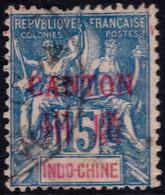 ✔️ Chine Canton 1901/1902 - Mouchon Groupé Avec Surcharge - Yv. 7 (o) - Cote €8  - Depart 0,99 - Usati