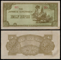 BURMA - WWII JAPANESE GOVERNMENT BANKNOTE - HALF RUPEE (1942) P#13b AU (NT#05) - Other