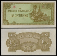 BURMA - WWII JAPANESE GOVERNMENT BANKNOTE - HALF RUPEE (1942) P#13b AU/UNC (NT#05) - Other