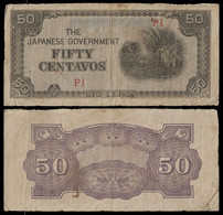 PHILIPPINES - WWII JAPANESE GOVERNMENT BANKNOTE - 50 CENTAVOS (1942) P#105 F (NT#05) - Other