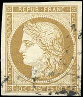 O 10c. Bistre-jaune. Grandes Marges. Obl. Très Légère. SUP. - 1849-1850 Ceres