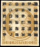 O 10c. Bistre-jaune. Obl. Gros Points. TB. - 1849-1850 Ceres