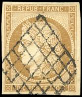 O 10c. Bistre-jaune. Obl. Grille. SUP. - 1849-1850 Ceres