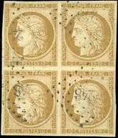 O 10c. Bistre. Bloc De 4. Obl. PC 248. SUP. - 1849-1850 Ceres