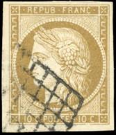 O 10c. Bistre-verdâtre. Obl. Grille. Belles Marges. SUP. - 1849-1850 Ceres