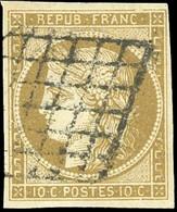O 10c. Bistre-verdâtre. Obl. Grille. TB. - 1849-1850 Ceres