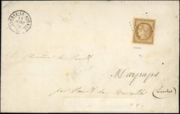 O 10c. Bistre Obl. PC 1737 S/lettre Frappée Du CàD De LORREZ-LE-BOCAGE Du 14 Avril 1852 à Destination De SAULT DE NAVAIL - 1849-1850 Ceres