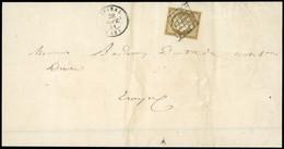 O 10c. Bistre-verdâtre Foncé, Obl. S/lettre Frappée Du CàD D'EPINAL Du 26 Septembre 1851 à Destination De TROYES. Nuance - 1849-1850 Ceres