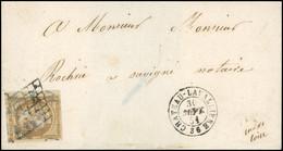 O 10c. Bistre-jaune, BdeF, Obl. Grille, Brouillée, S/lettre Frappée Du CàD De CHATEAU-LAVALLIERE Du 30 Septembre 1851 à  - 1849-1850 Ceres