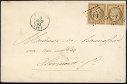 O Paire Du 10c. Bistre-jaune Obl. PC 481 S/lettre Frappée Du CàD De BOURGES Du 9 Novembre 1853 à Destination De CLERMONT - 1849-1850 Ceres