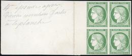 (*) Essai Du 15c. En Vert S/carton. Bloc De 4. Sans Teinte De Fond. Grand Bord De Feuille. SUP. - 1849-1850 Ceres