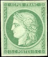 (*) 15c. Vert. Fraicheur Postale. TB. - 1849-1850 Ceres