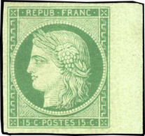 * 15c. Vert-foncé. Bord De Feuille. Fraîcheur Exceptionnelle. SUP. RR. - 1849-1850 Ceres