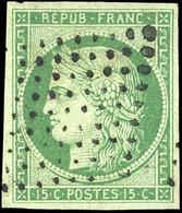 O 15c. Vert. Obl. Pointillé. TB. - 1849-1850 Ceres