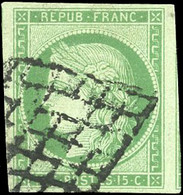 O 15c. Vert. Grandes Marges. Obl. Grille. SUP. - 1849-1850 Ceres