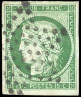 O 15c. Vert Foncé. Obl. étoile Légère. Belles Marges. TB. - 1849-1850 Ceres
