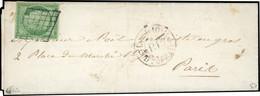 O 15c. Vert Obl. Grille S/lettre Manuscrite Du 21 Août 1850 Frappée Du CàD Rouge ''P.P'' De 1850 à Destination De PARIS. - 1849-1850 Ceres