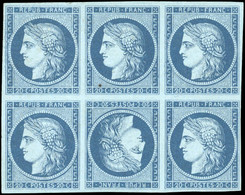 (*) Essai Du 20c. En Bleu Foncé S/bleu. Bloc De 4 Avec Tête-bêche. Tirage Fin. SUP. RR. - 1849-1850 Ceres