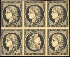 * 20c. Noir S/jaune. Bloc De 6 Avec Tête-Bêche. Léger Pli D'archive Sinon Pièce De Rêve. SUP. - 1849-1850 Ceres