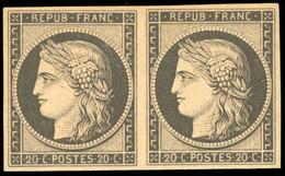 * Paire Du 20c. Noir S/jaune. Réimpression. SUP. - 1849-1850 Ceres